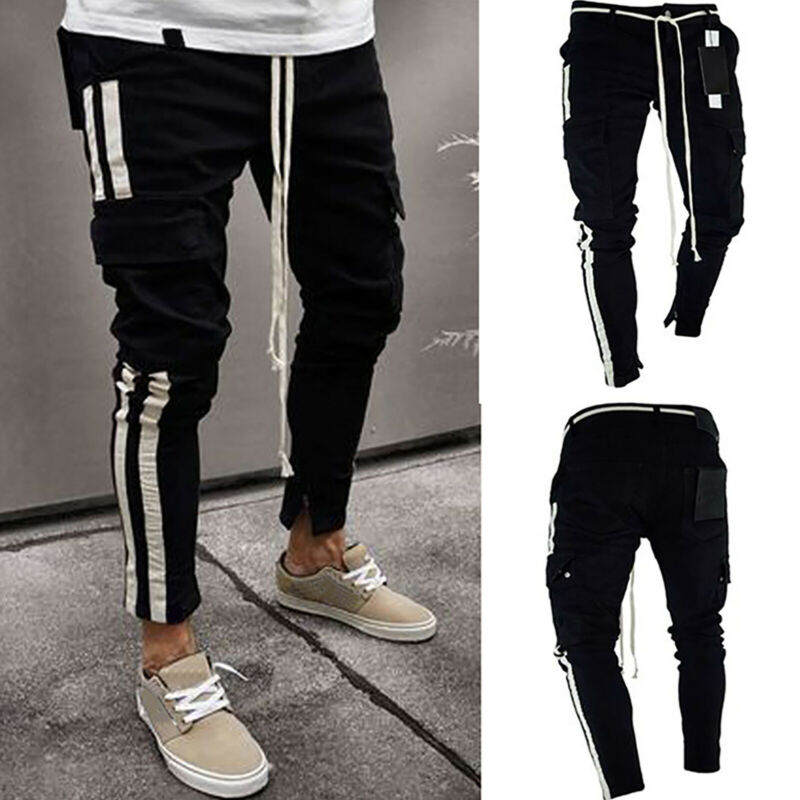 Mens Boys Stretch Skinny Ripped Jeans Biker Frayed Denim Leisure Tight Trousers 9