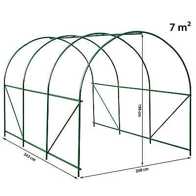 Serre tunnel de jardin 6 fenetres bâche verte maraîchère metal serres PE 7m² 8