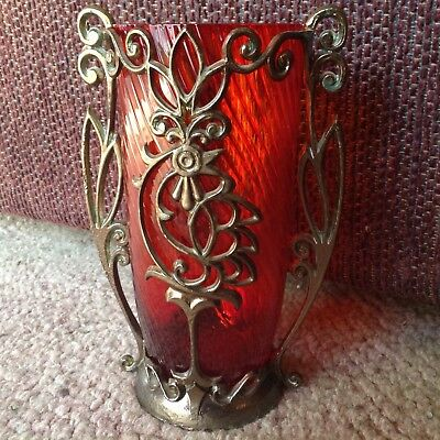VINTAGE RED RUBY GLASS VASE w METAL MOUNT IN A BIRD MOTIF 5