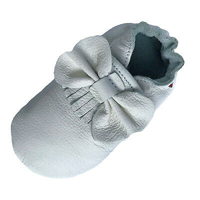 carozoo bow fringe white soft sole leather slippers up to 2 years old 2