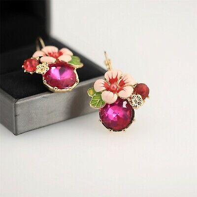 Boucles d/'Oreilles Clous Fleur Rose Feuille Vert Rose Vif Soirée Mariage L2