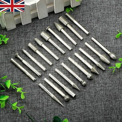 20x Diamond Coated Points Burrs Drill Bit w 6mm Shank Die Grinder Rotary Tool HQ 4