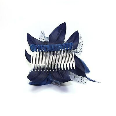 Navy blue fascinator comb with chiffon flower and feather tendrils 3