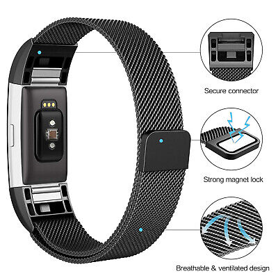 For Fitbit Charge 2 Strap Replacement Milanese Band Metal Stainless Steel Magnet 4