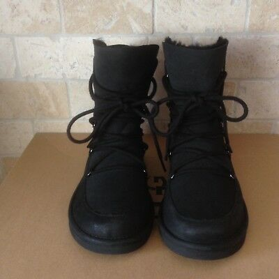 2eb44b507ab UGG LODGE BLACK Water-Resistant Suede Sheepskin Lace-Up Boots Size 8 Womens