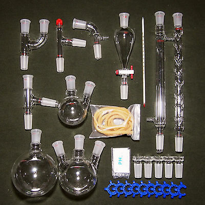 New advanced Chemistry Lab Glassware Kit With 24/40 Glass Ground Joint,29PCS 2