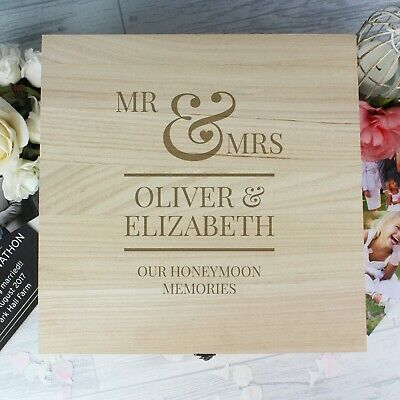 Personalised Wooden Mr & Mrs Large Keepsake Box Wedding Anniversary Valentine's 6