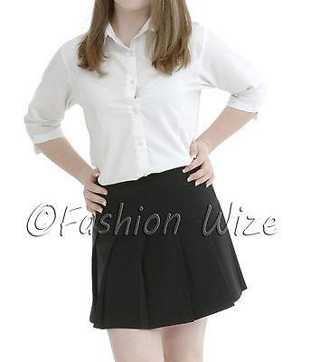 Girls Womens Pleated School Skirt Drop Waist Grey Black Navy Ages 5-16 Size 6-24 12