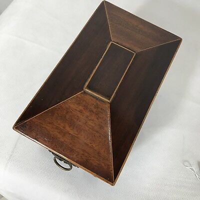 Antique Regency Mahogany Satinwood Inlaid Brass Mounted Two Section Tea Caddy 3