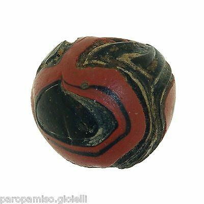 Early Islamic folded Glass Bead large size. (0429) 4