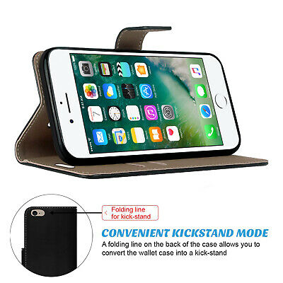 Case for iPhone 6 7 8 5S PLUS XR XS MAX Cover Real Genuine Leather Flip Wallet 7
