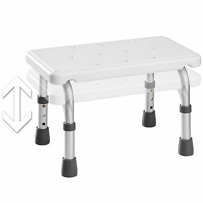 Taburete de ducha paso cuarto de baño asiento bañera altura ajustable blanco alu