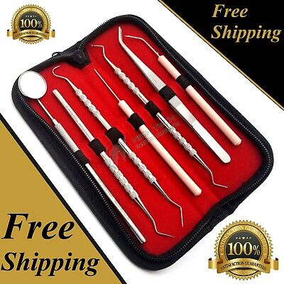 GERMAN Dental Scaler Pick Stainless Steel Tools with Inspection Mirror Set 7 PCS 6