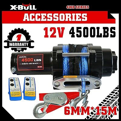 X-BULL 4500LBS/2041kg Electric Winch Synthetic Rope 2 Remote Wireless ATV 12V