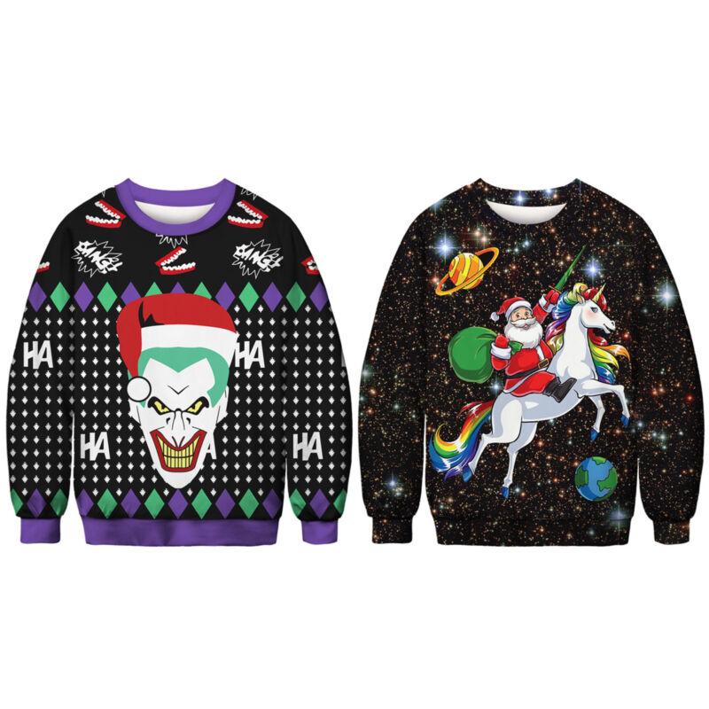 Unisex Ugly Christmas Sweater Santa Women Men Xmas Jumper Casual Sweatshirt Tops 11
