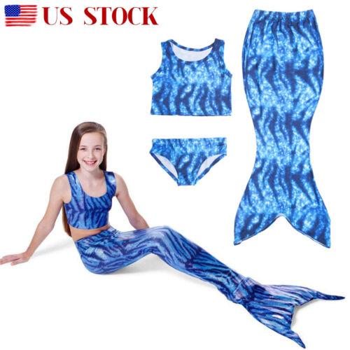 ff848a8ef326 Kids Girls Swimmable Mermaid Tail Swimsuit Bikini Swimwear Swimming Costume  US 7 7 of 12 ...