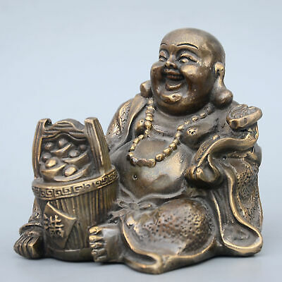 Collect China Old Bronze Hand-Carved Buddhism Buddha & Wealth Auspicious Statue 6