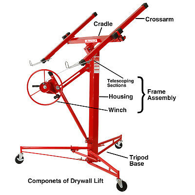 NEW 11' Drywall Lifter Panel Hoist Jack Rolling Caster Construction Lockable Red 3