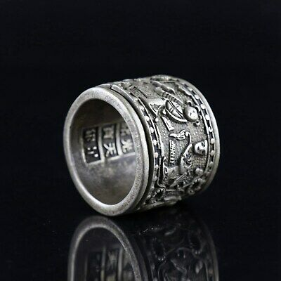 Collect GuangXu First Year Miao Silver Carve Ancient Figure Precious Decor Ring 4
