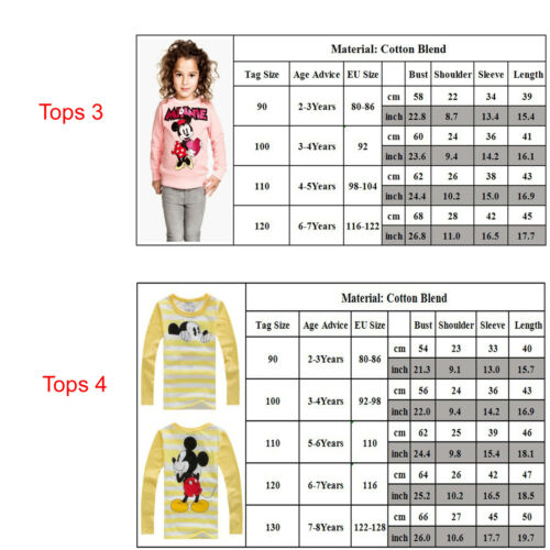 Kids Baby Girls Boys Mickey Minnie Mouse Hoodie Sweatshirt T-Shirt Tops Outfits 3