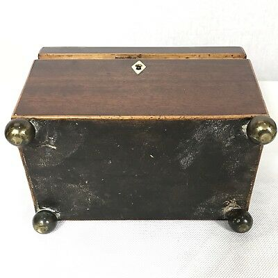 Antique Regency Mahogany Satinwood Inlaid Brass Mounted Two Section Tea Caddy 8