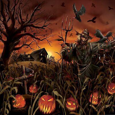 Halloween Field Of Screams Pumpkin Scarecrow Scene Giant Party Wall Decoration