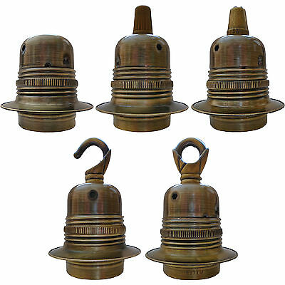 2 Shade Rings and Loop in Raw Brass Finish Edison Screw E27 Bulb Holder