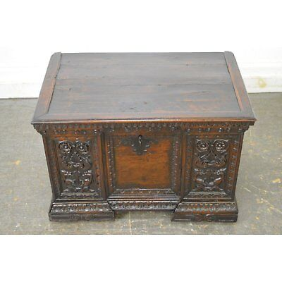 Antique 18th Century Carved Italian Renaissance Lidded Chest Coffer