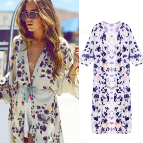 Womens Boho Floral Beach Cover Up Kimono Cardigan Jacket Tops Blouse Shawl 10