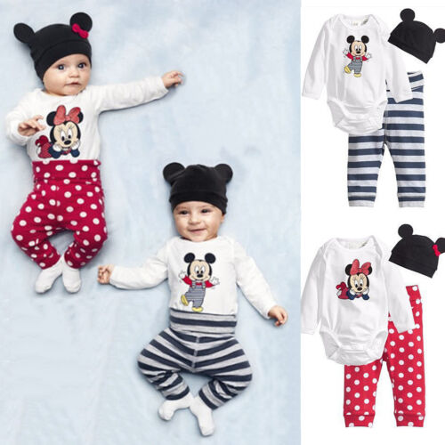 3Pcs Baby Boy Girls Newborn Mickey Mouse Romper Pants Bodysuit Hats Outfits Sets