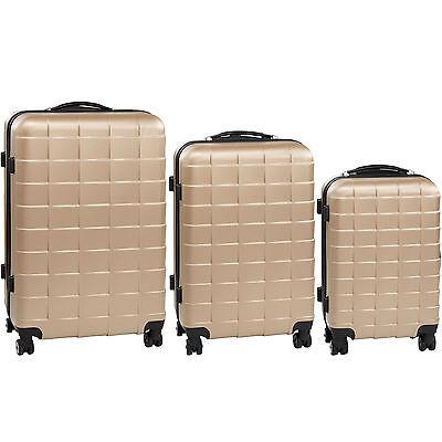 Set 3 piezas maletas ABS juego de maletas de viaje trolley maleta dura champán 7