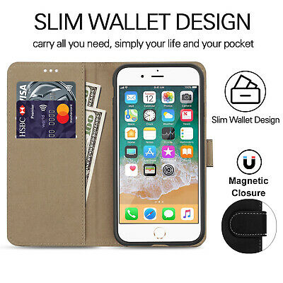 Case for iPhone 6 7 8 5S PLUS XR XS MAX Cover Real Genuine Leather Flip Wallet 8