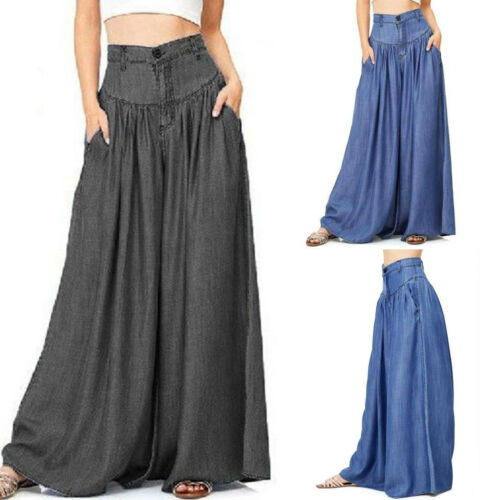 975d7f9f53bc Plus Size Womens Yoga Palazzo Trousers Casual High Waist Wide Leg Loose  Pants US 3 3 of 7 ...