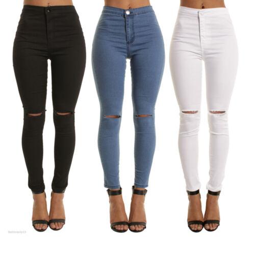 Womens Ripped Jean Skinny High Waist Distressed Frayed Celeb Stretch Denim Pant