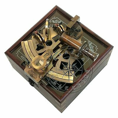 Antique Brass Working Nautical Sextant Vintage Maritime Astrolabe Wooden Box NEW 6