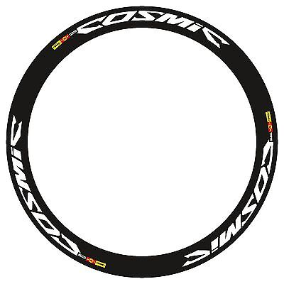 MAVIC COSMIC CARBONE 40 C BLACK WITH LIGHT BLUE OUTLINED RIM DECAL SET FOR 2 RIM