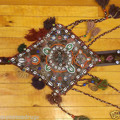 Three 1'1''x2'5''Antique 1900-1930s Tribal Decorative Ceremonial Wall Hanging 4