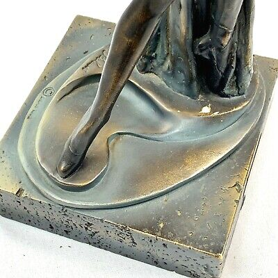 Auro A.Belcari - Escultura Estatua Hombres Mujeres Bailando Bronce Mármol Base 6
