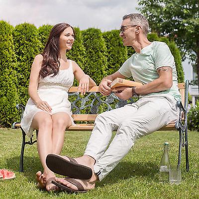 Banc mobilier meuble de jardin parc canapé terrasse en bois et fonte 124 cm neuf 2