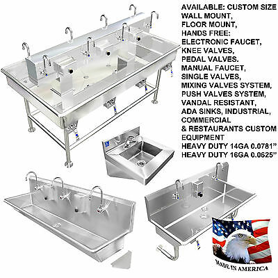 "Hand Sink 100"" 5 Users Heavy Duty Stainless Steel Manual Faucets 2 Drains 2"" Npt"