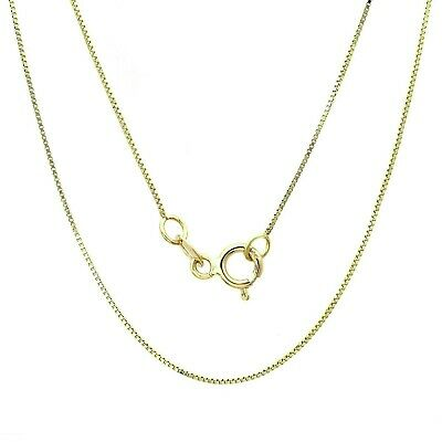 "14K Solid Yellow Gold Box Necklace Real Gold Chain 16"" 18"" 20"" 22"" 24"" 26"" 30"" 3"