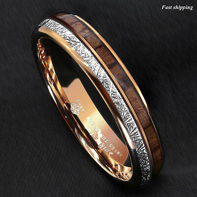 8/6mm Rose Gold Dome Tungsten Ring Silver Koa Wood Inlay Bridal ATOP Men Jewelry 5