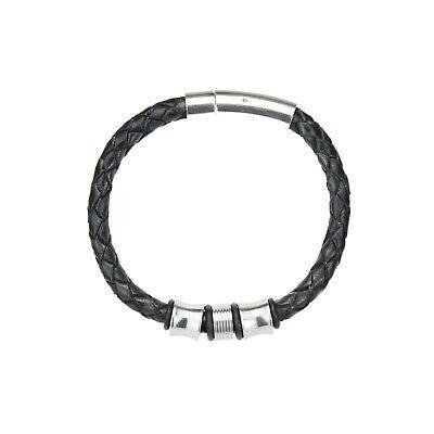 10 Stück Ø 3 mm geflochtene Leder Halskette Halsband Schwarz