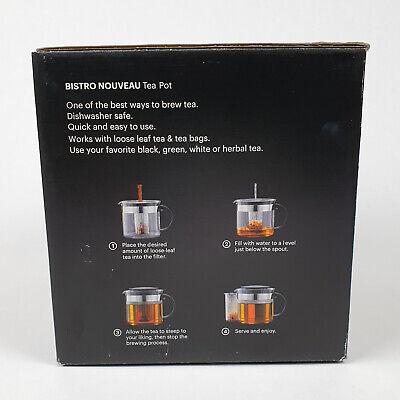 Bodum Glas Teekanne Tea Pot Bistro Nouveau Teebereiter Teezubereiter 1L NEU
