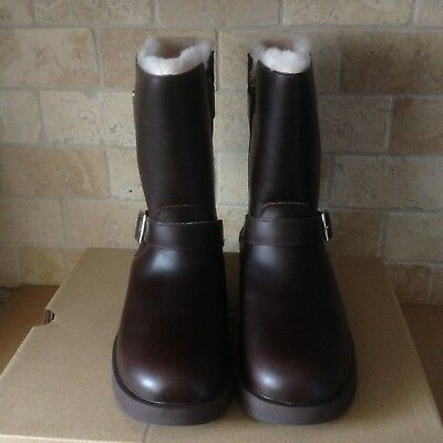 c5014b9ef51 UGG BREIDA STOUT Waterproof Leather Fur Buckle Short Boots Size Us 8.5  Womens