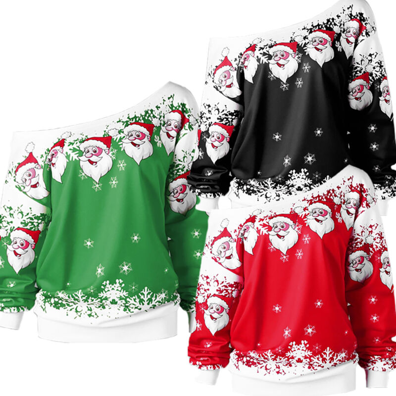 XMAS Women Sweatshirt Sweater Jumper Girls Christmas Hoodie Pullover Tops Blouse 8