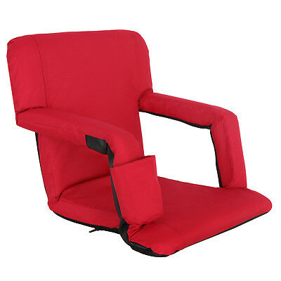 Portable Stadium Seat Chair, Reclining Bleacher Seat Red w/ 5 Assorted Positions 2