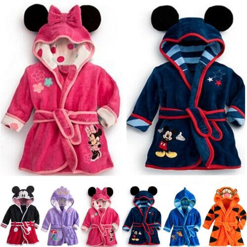 Kid Boys Girls Mickey Minnie Mouse Pajamas Hooded Bathrobe Dressing Gown Warmer 3