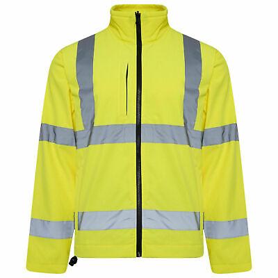 High Vis Viz Soft Shell Jacket Fleece Full Zip Reflective Safety Workwear HV601