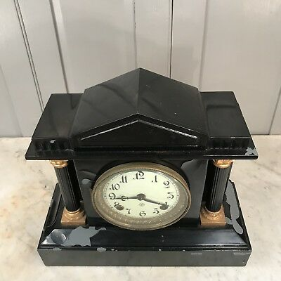 Antique Victorian black slate mantel clock - restoration project 2